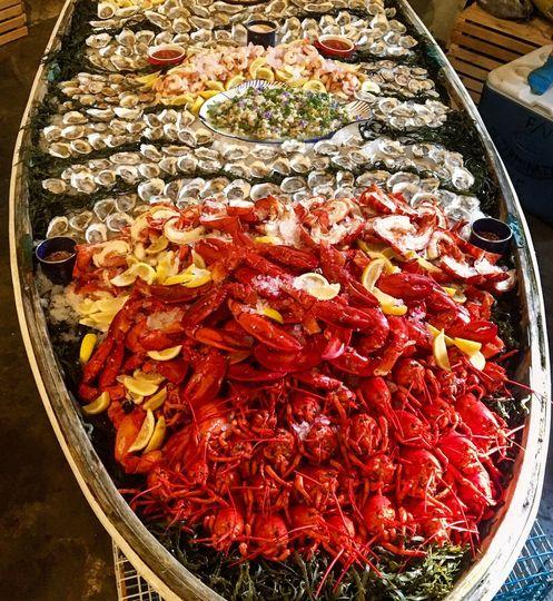 Dingy seafood spread