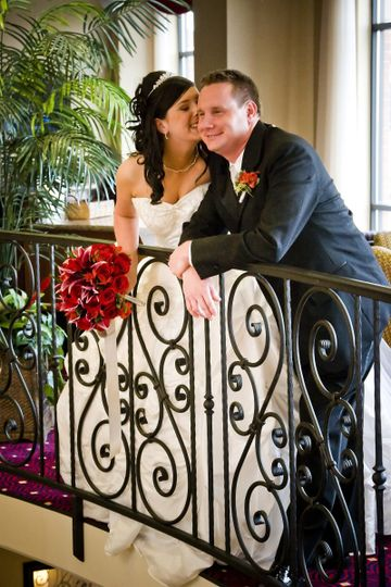 Elegant railing adds to the loveliness of the moment