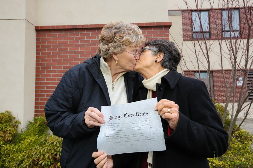 Grethe Cammermeyer & her wife Diane after signing their marriage certificate on December 6, 2012,...
