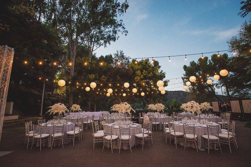String lights, paper lanterns