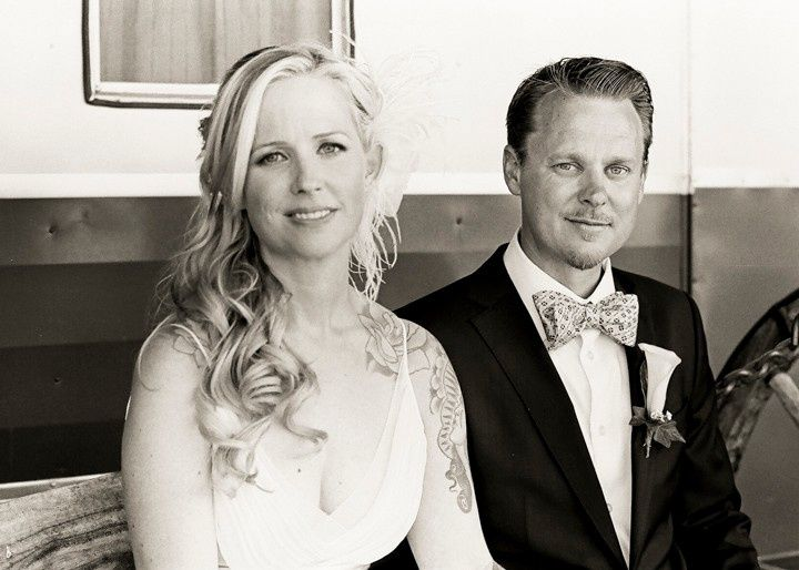 Black and white image of couple