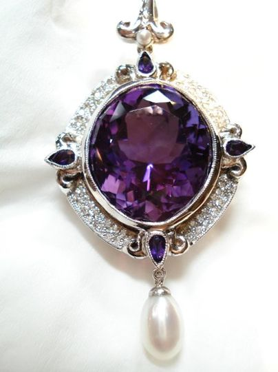 Custom designed and handmade 18k white gold diamond and amethyst  pendant/pearl enhancer