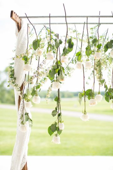 Arch with hanging flowers