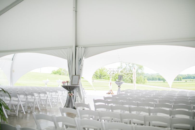 Tent set up before ceremony