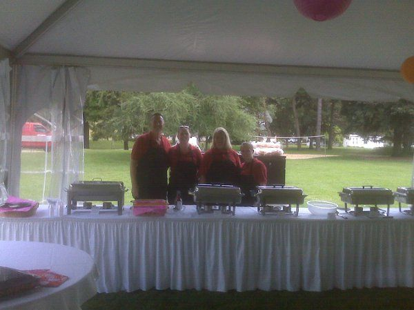 Out doors buffet catering at the Kellogg Manor Grounds