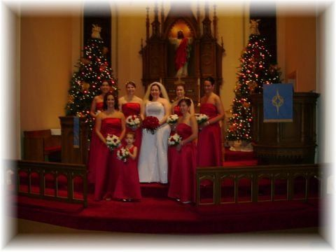 The church is beautifully decorated for this holiday wedding Party
