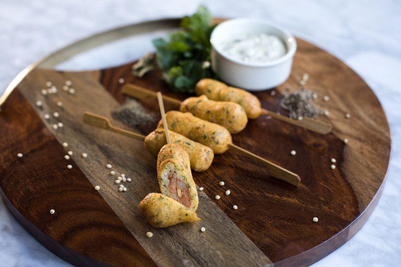 Mini chorizo corn dog