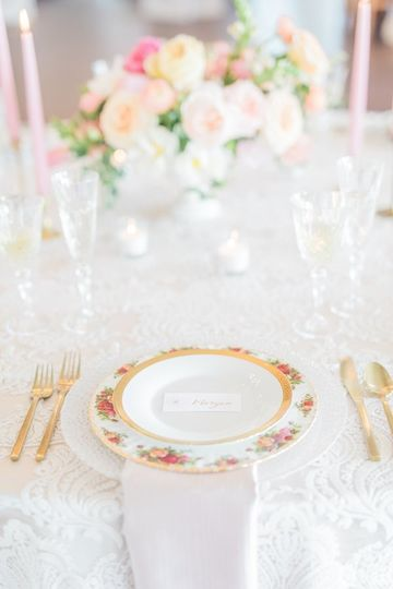 Gold flatware and china