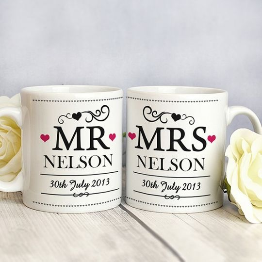 mr and mrs mug set with date message 31