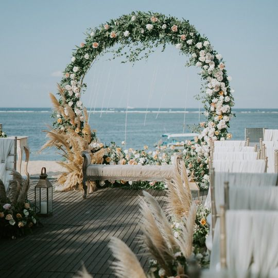 Floral circle arch
