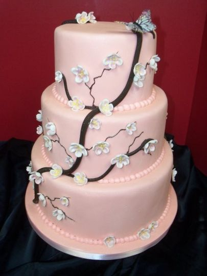 3-tier pink floral cake