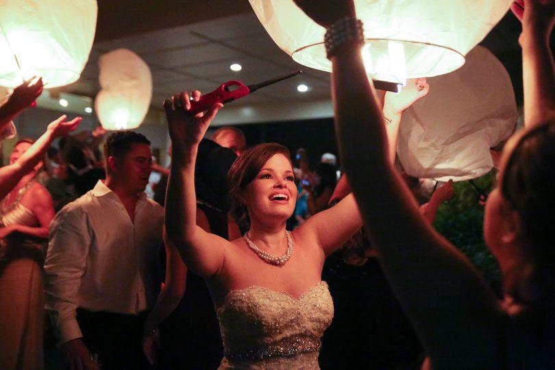 Bride celebrating
