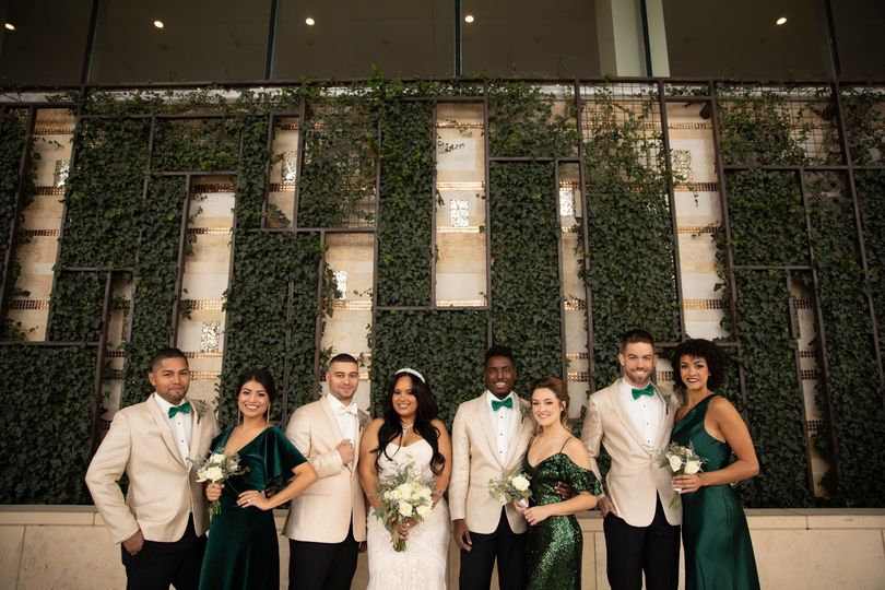 Emerald wedding party