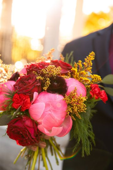 Vivid bridal bouquet