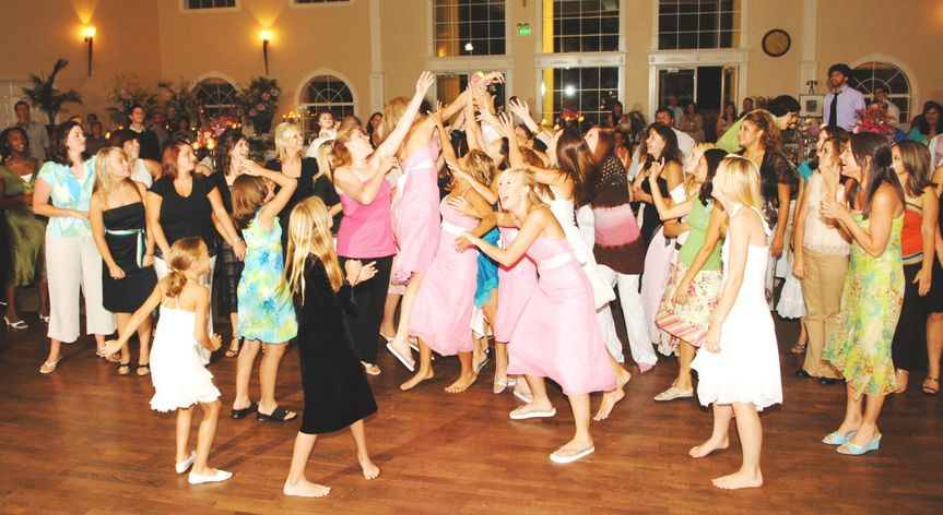 Girls Getting Air to Catch the Bouquet