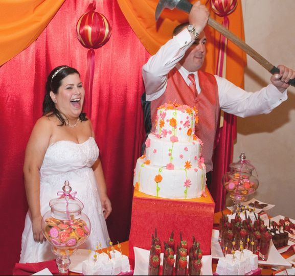 How does a Fireman Cut the Wedding Cake?