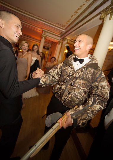 Why Is the Groom Wearing Camo at the Wedding Reception?