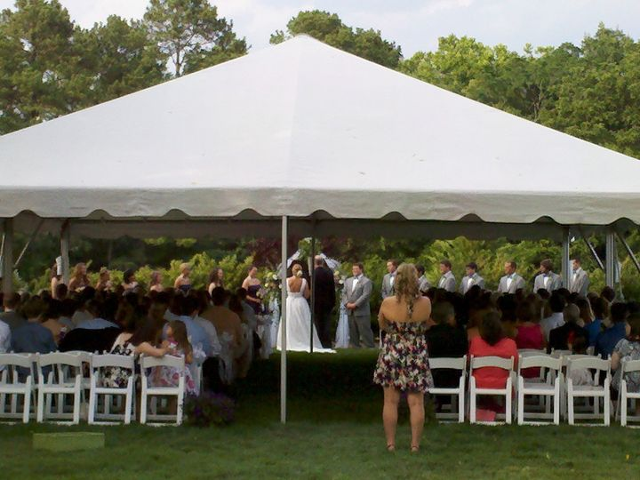 Tented ceremony in our side yard