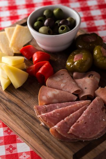 Meat, cheese and olives