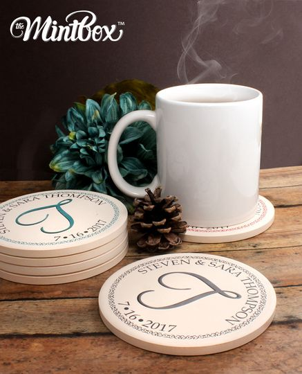Personalized Monogram Coasters, available in multiple colors!