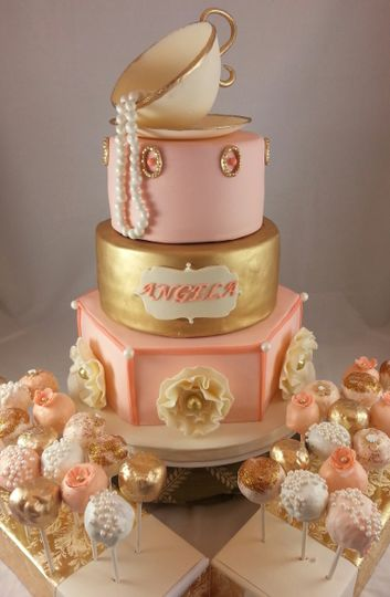 800x800 1414167639958 Tea Party Bridal Shower Cake With Pops