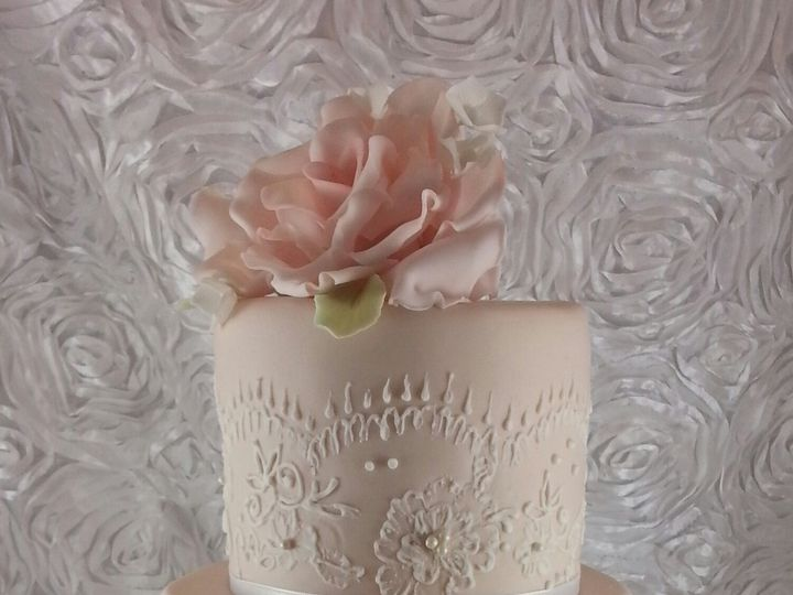 Tmx 1403530398219 Vintage Lace Cake 3 Astoria, New York wedding cake