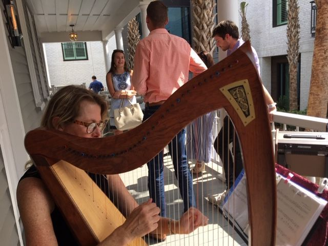 Harpist playing for guests