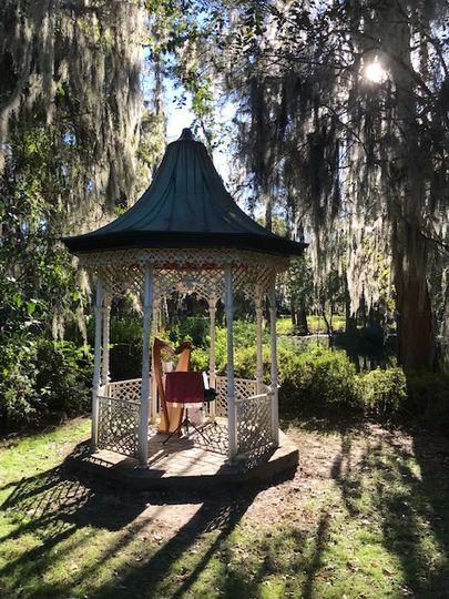 Harp set at Magnolia Gardens