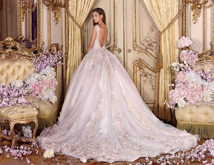 Ball gown in baby pink