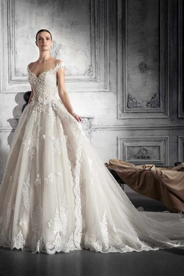 Off the shoulder ball gown