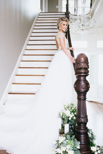 Bride by the staircase