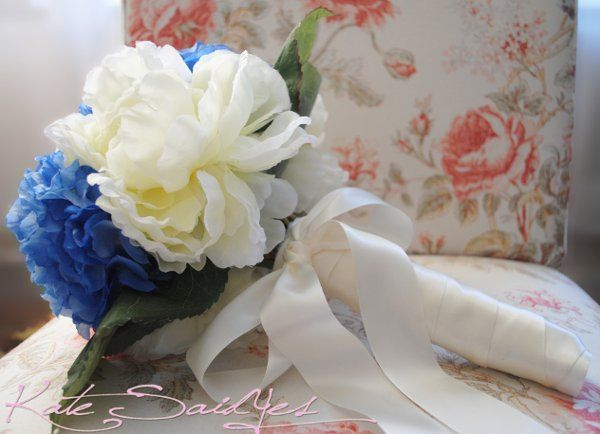 This fresh and bright Blue and Cream Hydrangea and Peony Bridal Bouquet is perfect for your spring...