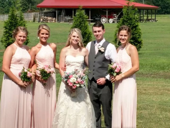 Newlyweds and the bridesmaids
