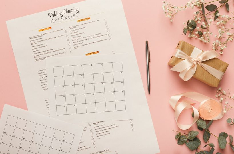 bridal background with planner checklist pv6cb95 51 1043779