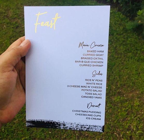 Printed Menu Cards