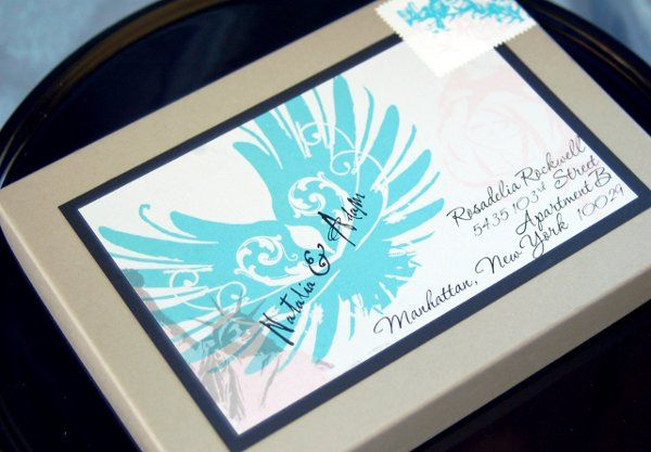 Boxed mailer for invitation, custom postage