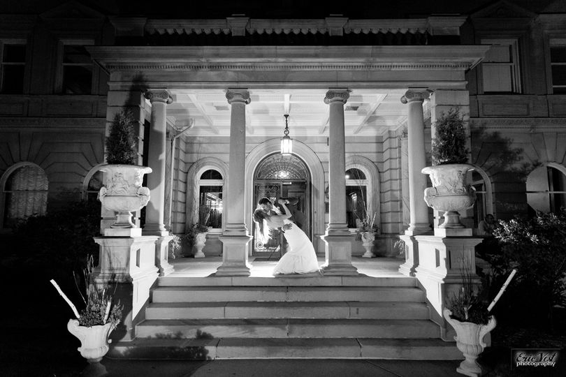 Outside the mansion at night