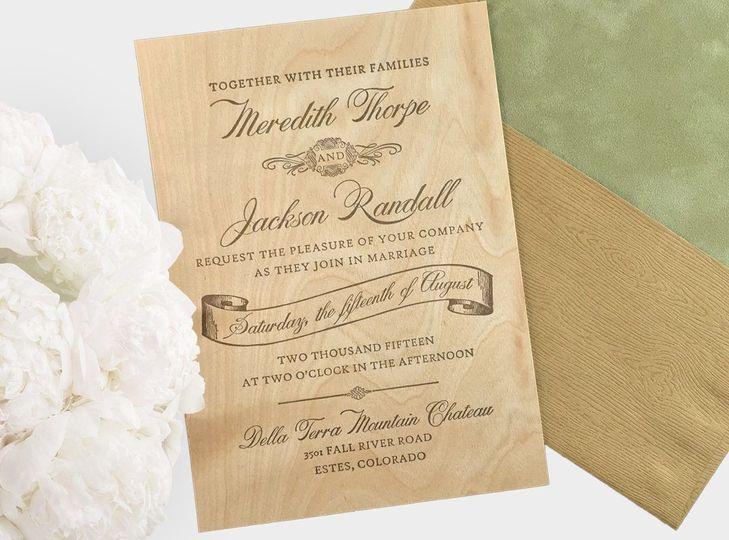 woodland luxury letterpress wedding invitation her