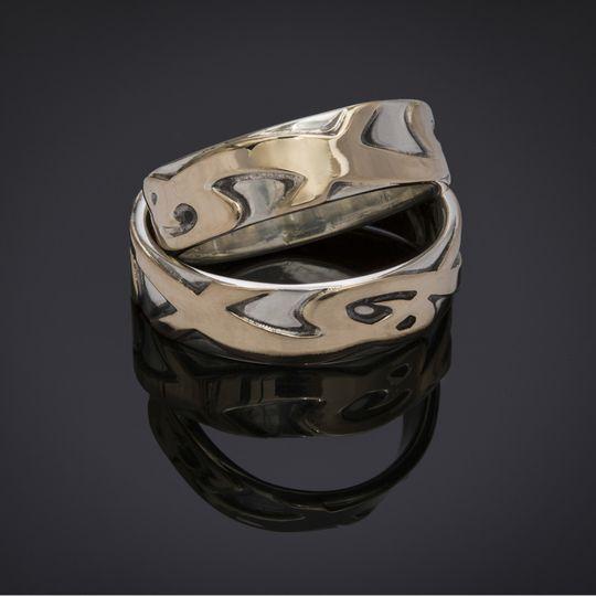 ringsetweddingbandgoldsilver