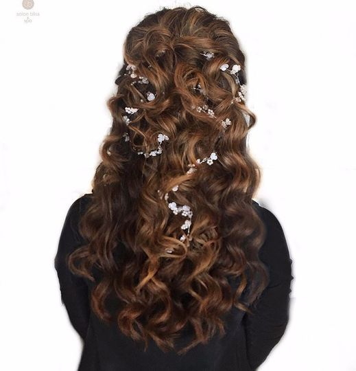 Floral formal hair style