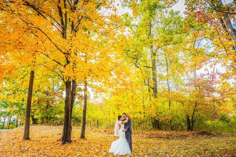 Couple in the Fall forest