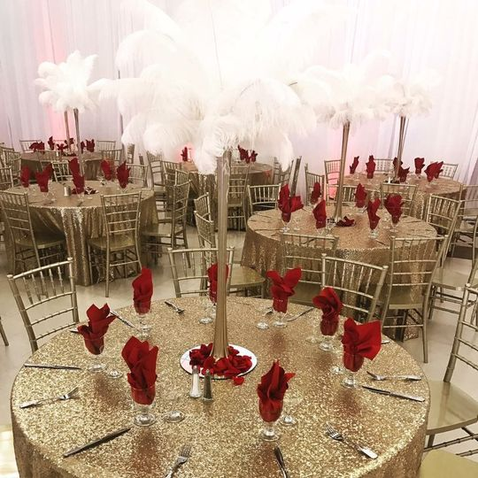 Gold and red reception setup