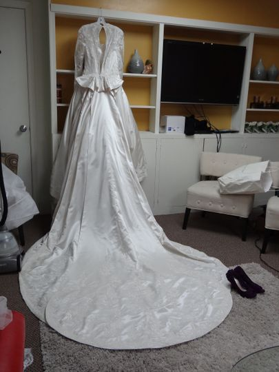 Cathedral style wedding dress.