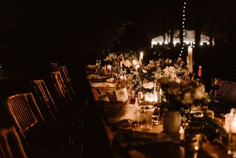 A candle-lit reception