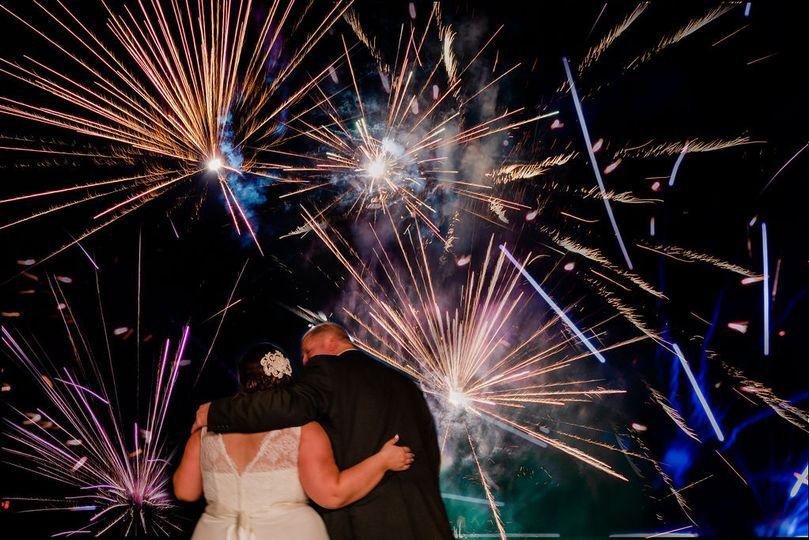 Scenic farm fireworks show