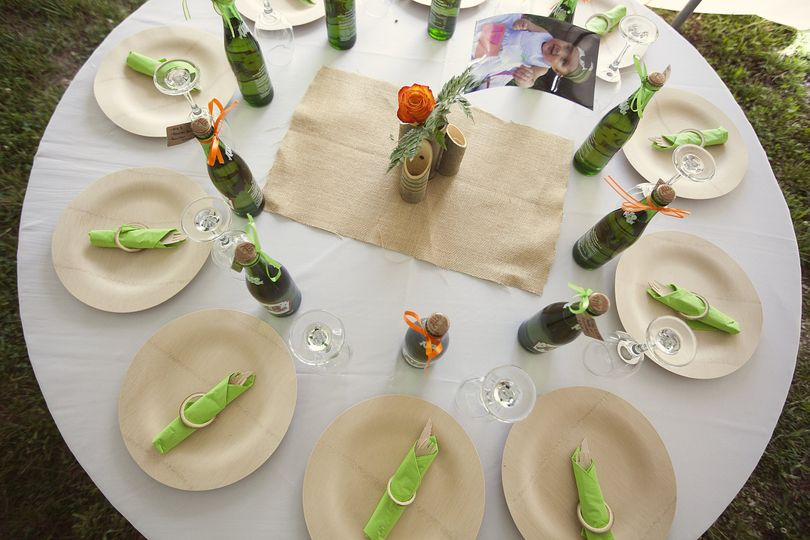 Table setting and bottles