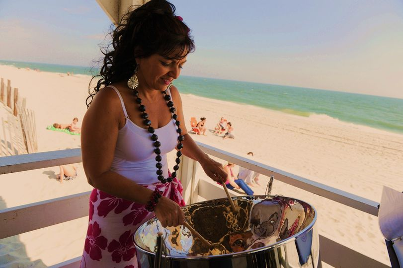 Outdoor beach wedding ceremony.   Long Beach Island New Jersey.