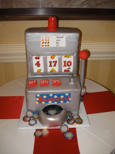 Slot machine groom's cake with chocolate foil playing chips