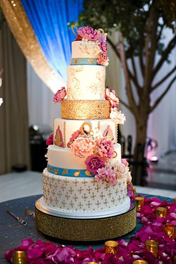 Fuschia, gold and blue Indian style wedding cake