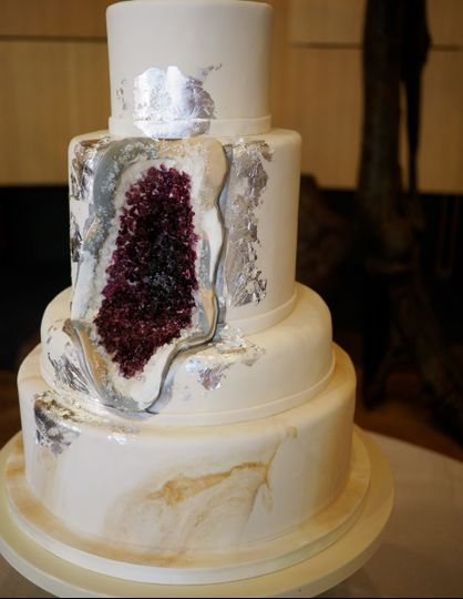 Geode inspired wedding cake at the Museum of Natural History